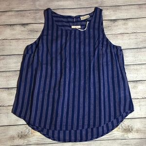 NWT Blue Striped Sleeveless Tank Top Size S